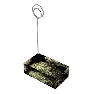 Huella dactilar invertida del lazo soportes para tarjetas de mesa