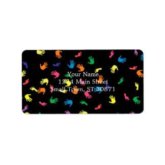 Huella de Handprint multicolora Etiqueta De Dirección