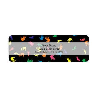 Huella de Handprint multicolora Etiqueta De Remite