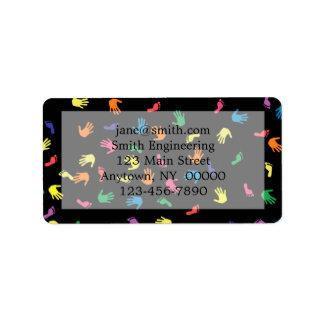 Huella de Handprint multicolora Etiquetas De Dirección