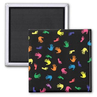 Huella de Handprint multicolora Imán Cuadrado