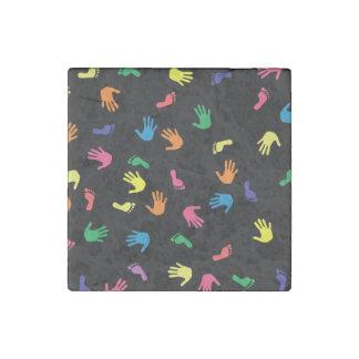Huella de Handprint multicolora Imán De Piedra