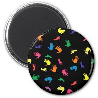 Huella de Handprint multicolora Imán Redondo 5 Cm