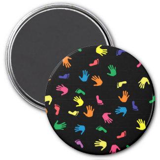 Huella de Handprint multicolora Imán Redondo 7 Cm