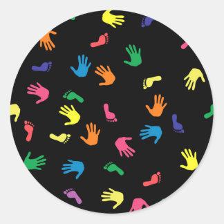 Huella de Handprint multicolora Pegatina Redonda