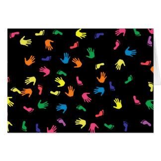 Huella de Handprint multicolora Tarjeta De Felicitación