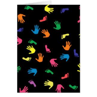 Huella de Handprint multicolora Tarjeta Pequeña