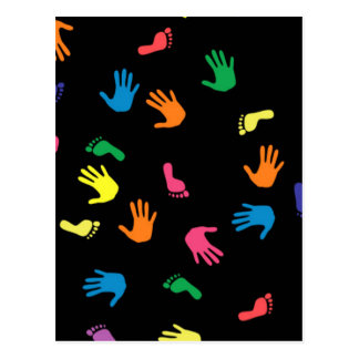 Huella de Handprint multicolora Tarjetas Postales