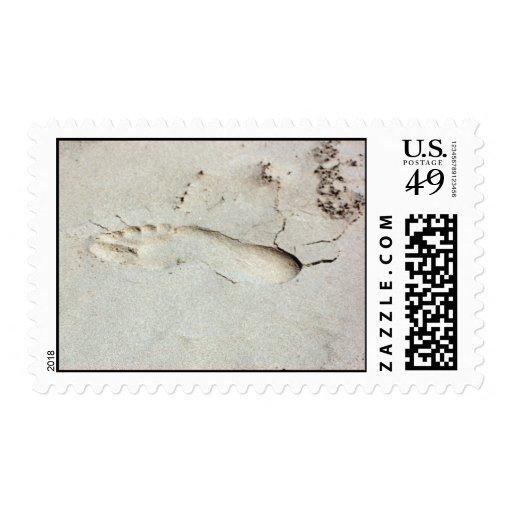 Huella en arena timbres postales