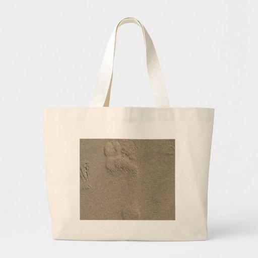Huella en el arte de la fotografía de la arena bolsa de tela grande