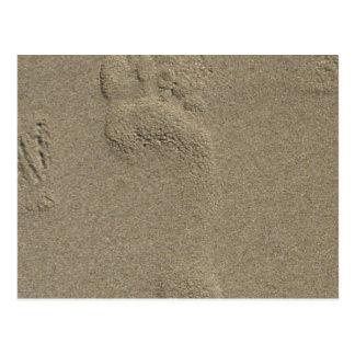 Huella en el arte de la fotografía de la arena postales