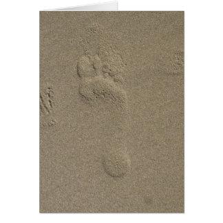Huella en el arte de la fotografía de la arena tarjeta de felicitación