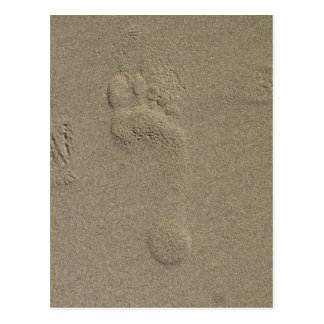 Huella en el arte de la fotografía de la arena tarjetas postales