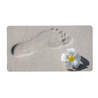 Huella en la arena etiqueta de envío