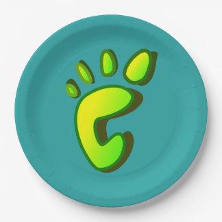 Huella grande de la verde lima plato de papel de 9 pulgadas