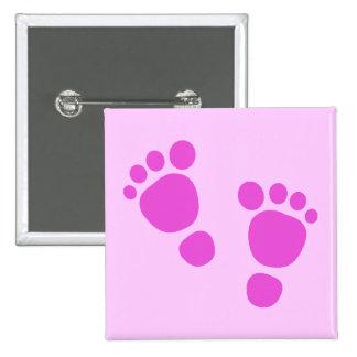 ¡Huella rosada del bebé es un chica! Botón Pin Cuadrado