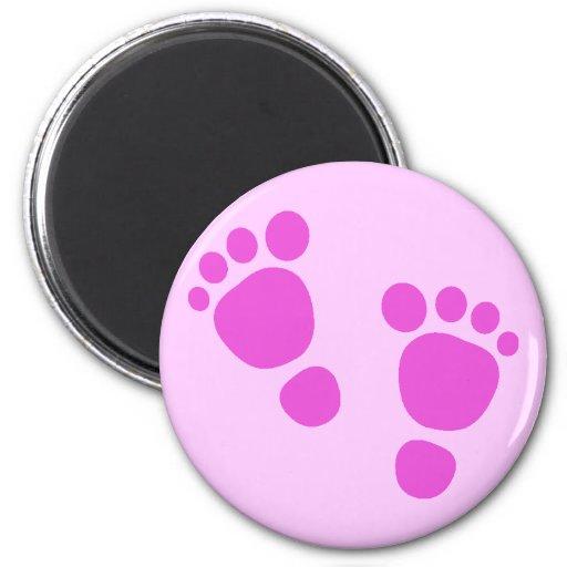 ¡Huella rosada del bebé es un chica! Imán del refr