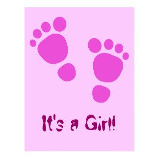¡Huella rosada del bebé es un chica! Postal