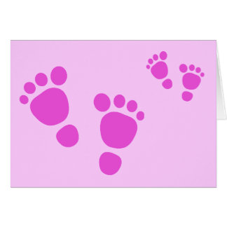 ¡Huella rosada del bebé es un chica! Tarjeta de fe