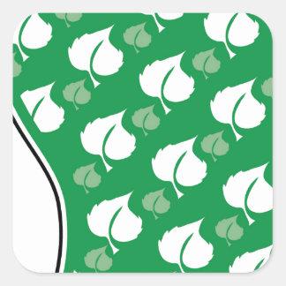 Huella verde pegatina cuadrada