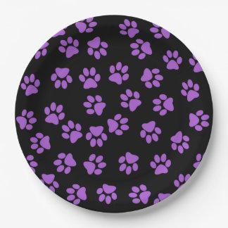 Huellas animales púrpuras plato de papel de 9 pulgadas