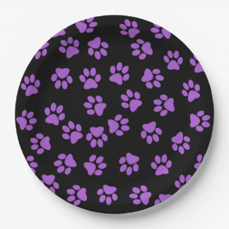 Huellas animales púrpuras plato de papel 22,86 cm