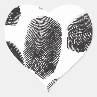 Huellas dactilares calcomanía de corazón personalizadas