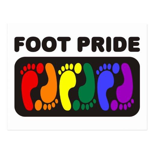 Huellas del arco iris del orgullo del pie postales