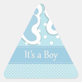 Huellas del bebé adorables calcomanías trianguladas personalizadas