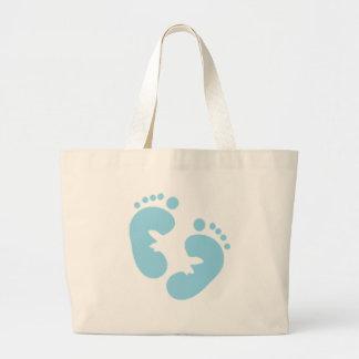 Huellas del bebé azul bolsa tela grande