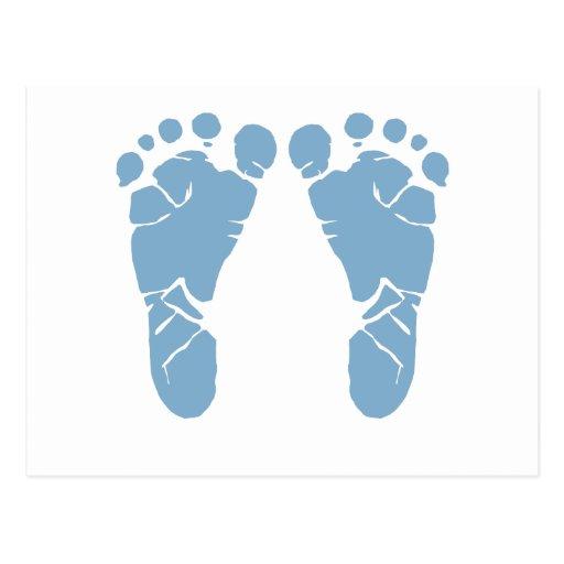 Huellas del bebé azul tarjetas postales