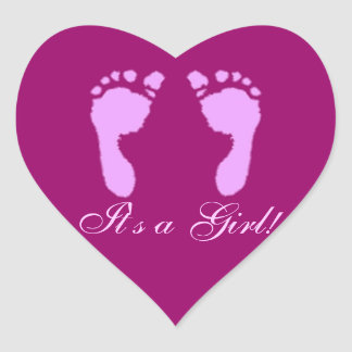 Huellas del bebé (chica) calcomanías de corazones personalizadas