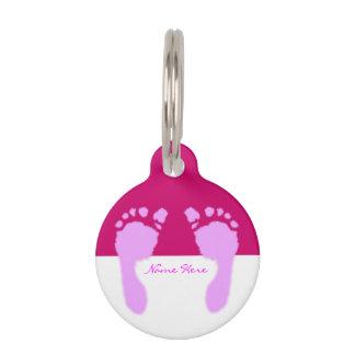 Huellas del bebé (chica) placas para mascotas