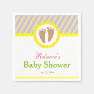 Huellas del bebé, fiesta de bienvenida al bebé servilletas de papel