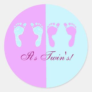 Huellas del bebé (gemelos del chica/del muchacho) pegatina