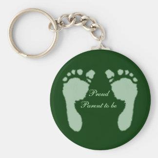 Huellas del bebé (verde) llavero personalizado