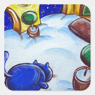 Huellas del gato en la nieve pegatina cuadrada