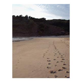 Huellas en arena de la playa flyer a todo color