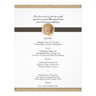 Huellas en el menú del boda de la arena tarjeta publicitaria