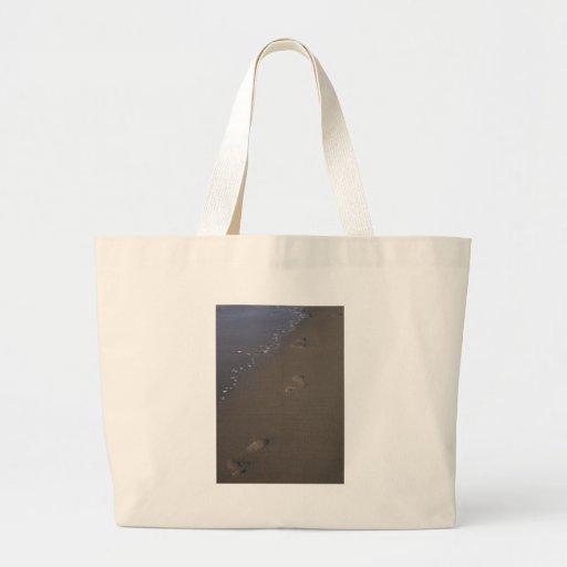 Huellas en la arena bolsa de tela grande