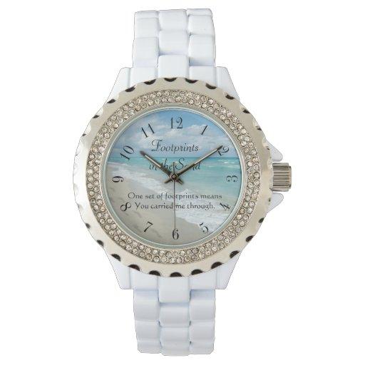 Huellas en la arena inspirada relojes de pulsera