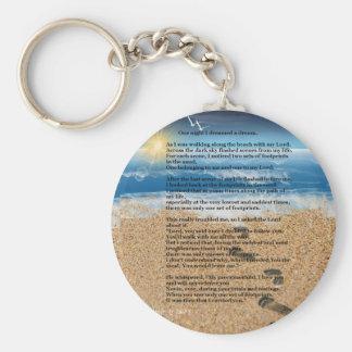 Huellas en la arena llavero redondo tipo pin