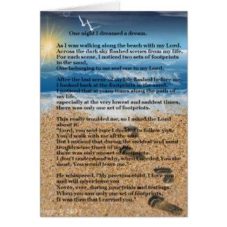Huellas en la arena tarjeta de felicitación