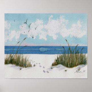 Huellas en la impresión de la playa
