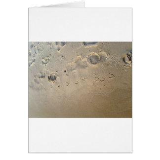 huellas en la playa tarjeta