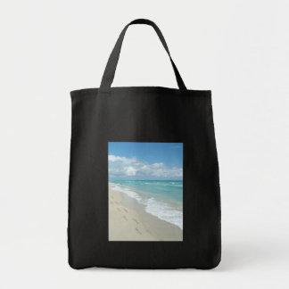 Huellas en la playa de Sandy blanca, aguamarina es Bolsa Tela Para La Compra
