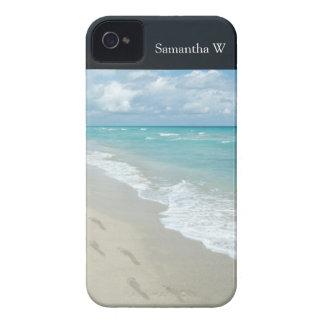 Huellas en la playa de Sandy blanca, aguamarina iPhone 4 Case-Mate Carcasas