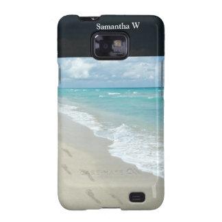 Huellas en la playa de Sandy blanca, aguamarina Funda Para Samsung Galaxy S2
