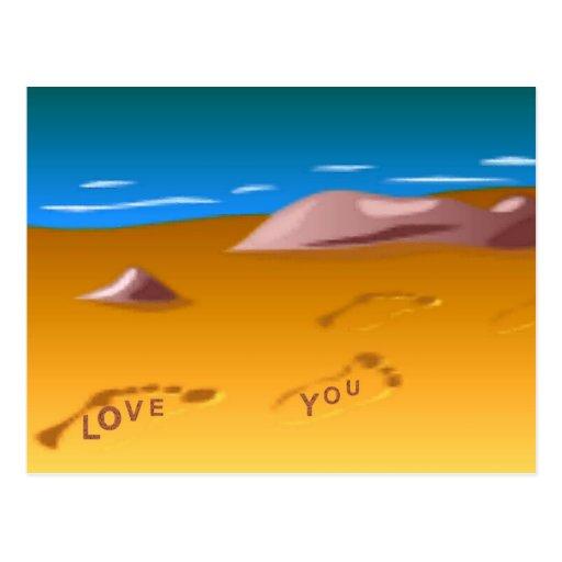 Huellas en la postal de la playa