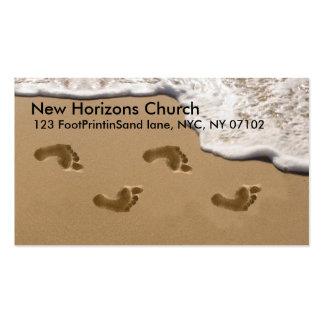 Huellas en la tarjeta de visita cristiana de la ar